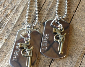 2 separate shipping locations - Thelma and Louise Dog Tag Necklace Set