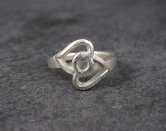 Vintage Sterling Intertwined Heart Ring Size 6.5