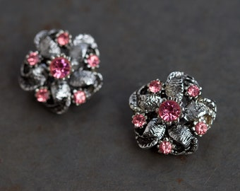 Pink Clip on Earrings - Silver Toned Rosettes - Vintage Cocktail Jewelry