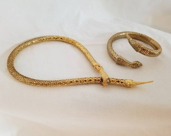Vintage Goldtone Snake Costume Jewelry Necklace and Bracelet Set