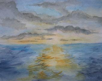 Ocean Sunset , Print of Original Watercolor Painting, seascape painting, ocean painting, watercolor art.