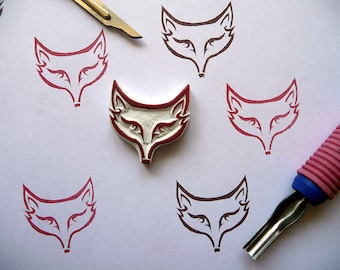 fox hand carved rubber stamp, Cute fox head rubber stamp, woodland animal stamp, Fox Gift