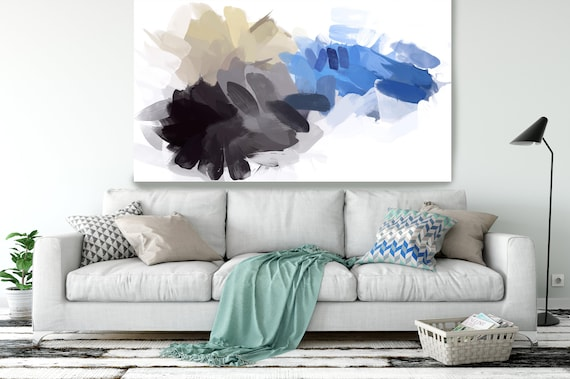 "BLUE AND YELLOW, Abstract Blue Painting Modern Wall Art Painting Canvas Art Print Art Modern White Blue up to 80"" by Irena Orlov"