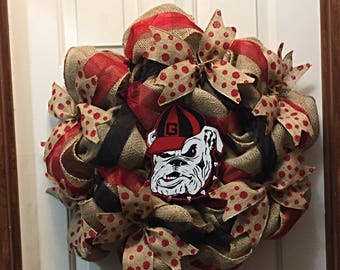 Georgia Bulldog Front Door Decor, Bulldog Wreath, Georgia Bulldog Wreath,  Georgia Door Decor