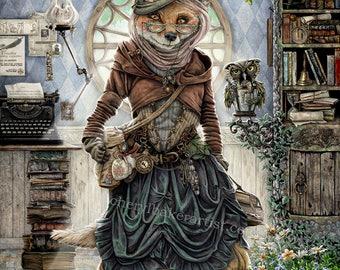 The Librarian - Fox Art - Fox Print - Fox Decor - Red Fox - Book Lover - Love to Read - Bookworm Gifts - Steampunk Owl - Steampunk Decor