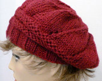 Hand Knit Star Pattern Slouch Hat Beret  Color Wine(H-136)