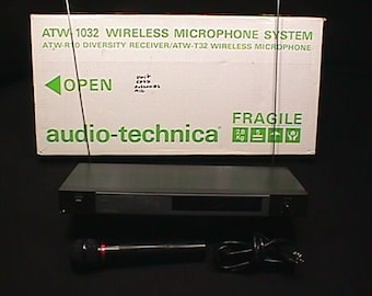 Audio-Technica Model ATW-1032 Wireless Microphone System as-is  2 MIC