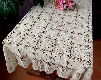 100% handmade table cover, Crochet pattern Bowknot table topper rectangular, oblong crochet tablecloth