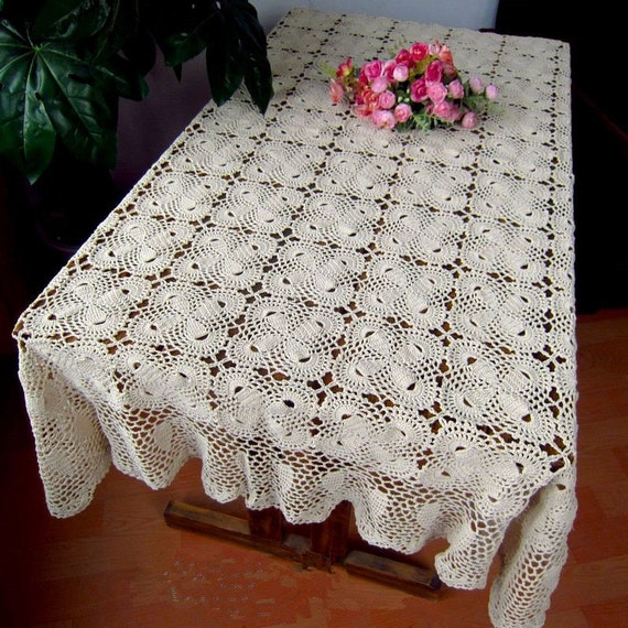 Items Similar To 100% Handmade Table Cover, Crochet Pattern Bowknot Table  Topper Rectangular, Oblong Crochet Tablecloth On Etsy
