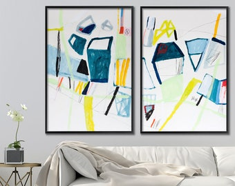 Set of 2 Abstract paintings, contemporary art, Original Abstract art, Large wall art, Modern wall art, blue and yellow art, Duealberi