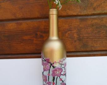 painted bottle, vase, present, flower vase, glas vase