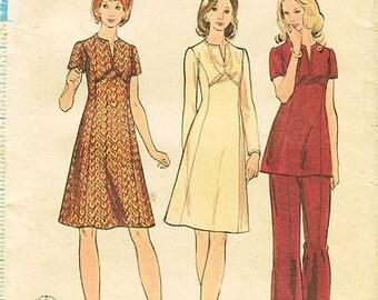 Sz 20 1/2  - Butterick 6846 - Vintage Half Size & Women's Split Jewel Neckline A-Line Dress , Tunic and Pants