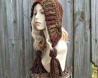 Brown Womens Hat Crochet Hood - Mesquite Brown Ear Flap Hat - Tassel Hat Crochet Hat - Brown Hat Brown Hood Womens Accessories Winter Hat