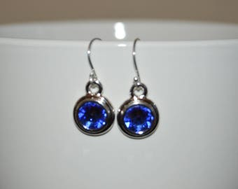 Rhodium Plated Sapphire Crystal Earrings