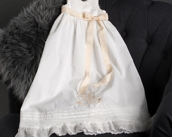 Monogram Cotton Christening Gown, Girls Blessing Gowns & Baptism Outfits, Embroidery Baby Gown
