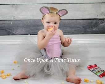 Little Mouse Gray Pink Tutu Dress - Newborn 3 6 9 12 18 24 Months 2T 3T 4 5 6 - Grey Light Pink Cute Tiny Baby Animal Halloween Costume  sc 1 st  Etsy & Gray mouse costume | Etsy