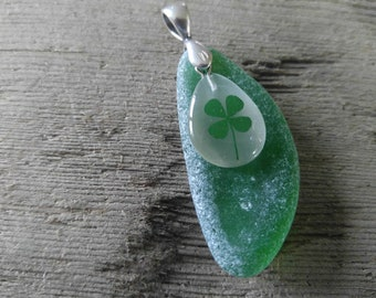 Green Sea Glass Pendant with Shamrock from Maryland's Eastern Shore