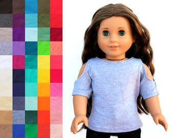 Fits like American Girl Doll Clothes - Short Sleeve Open Shoulder Top, You Choose Color | 18 Inch Doll Clothes