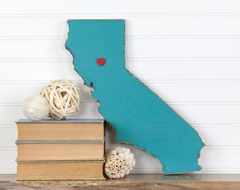 California state shape sign wood cutout wall art with heart or star 35 Colors. Wedding Guestbook Anniversary Gift Country Cottage Chic Decor