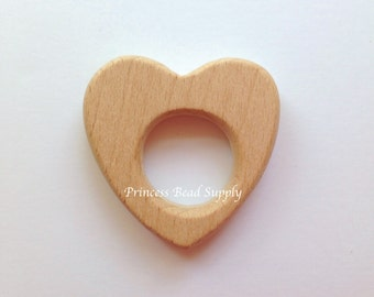 Heart Natural Wood Teether, Natural Wooden Heart Teether,  Natural Unfinished Wood Teether, Natural Wooden Beads