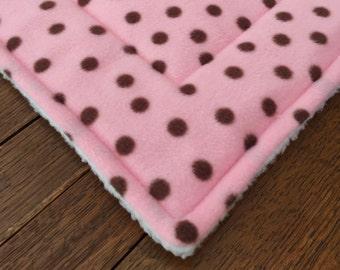 dog Crate mat cat Pet Mat Bed Pad PINK FLEECE with Chocolate polka dots PROFITS Benefit Animal Rescue Group