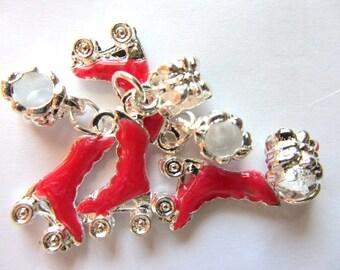 Set of 5 Red ROLLER SKATE Dangle Bead Charm Pendants 3-D (a-1)