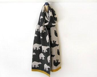 Gift for him, Merino wool scarf, Polar bears pattern, Wool scarf by Olula, Wool knit merino scarf, Soft scarves, Best scarves