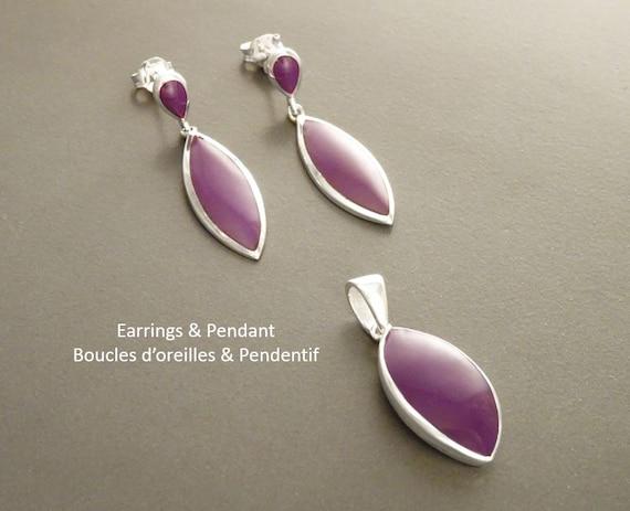 Purple Set, Earrings and Pendant Set, Sterling Silver Jewelry, 925, Almond Shape, Bright Purple Earrings, Dainty Jewelry, Purple Jewelry.
