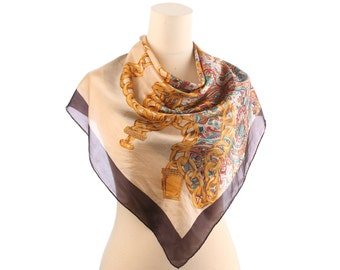 Beige Silk Scarf 90s Royal Sheer Gold Chains Print Shawl Paisley Bohemian Beige Gold Brown Luxury Neckwear Retro Golden Printed Gift Urban