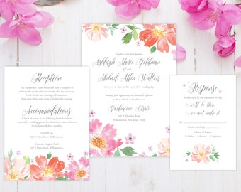 SAMPLE Wedding Invitation Suite - Garden Flowers Wedding Invite SAMPLE - Personalized Wedding Invitations - Full Wedding Suites