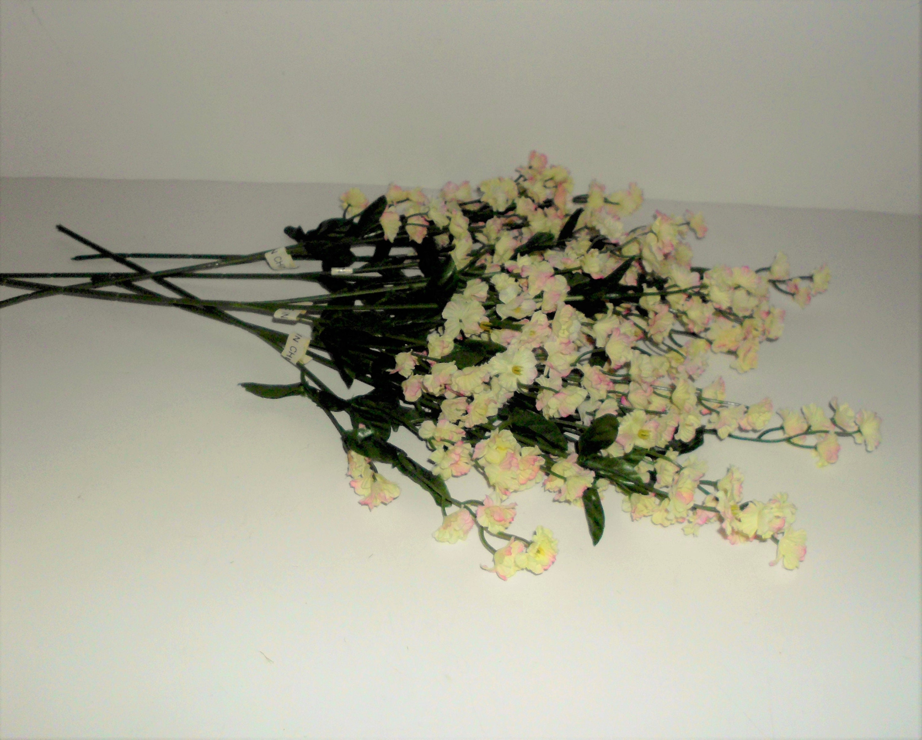 Ivory & Pink Silk Double Babys Breath Filler Flower, 6 stems ...