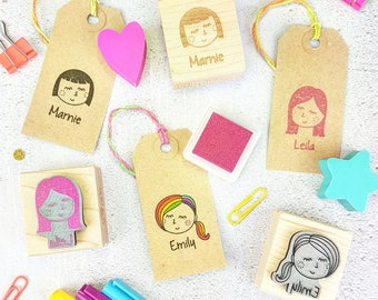 Personalised Woman Girl Character Rubber Stamp  - Mothers Day Stamp - Custom Stamper - Secret Santa Gift - Gift for Teen