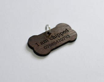 Personalised Wooden Pet Tag - Dog Tag - Engraved Dog Tag - Dog Tags For Dogs - Pet ID Tag - I Am Chipped - Bone Shape - Water Resistant