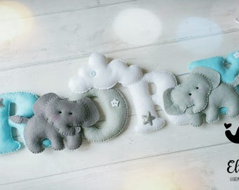 Elephants in the clouds name banner, felt name Garland, personlised banner, nursery decor, perfect gift for a girl or boys bedroom