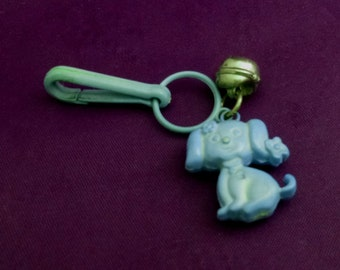 Vintage Puppy Dog Clip-On Charm with Bell for Zipper or Children's Necklace, 1980s