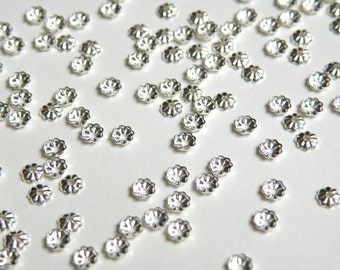 100 Tiny scalloped bead caps ribbed shiny silver plated brass 3.5mm 8965FN