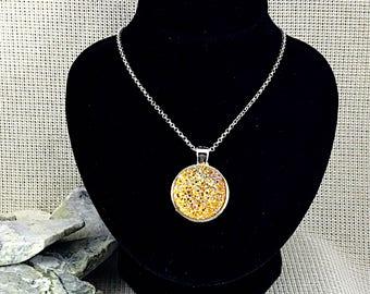Yellow Druzy Necklace - Bridesmaid Gift - Drusy - Druzy Jewelry - Bridesmaid Jewelry - Necklace - Yellow - Jewelry - Spring Wedding - Druzy