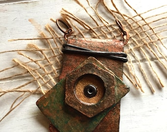 Mixed Metal Jewelry - Industrial Jewelry - Steampunk Pendant - Rustic Pendant - Gift for Her -  Artisan  Pendant - Mixed Media Pendant -OOAK
