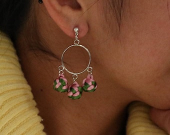 925 Silver / Clip Earring by Chinese Knot with little balls - Cute and light