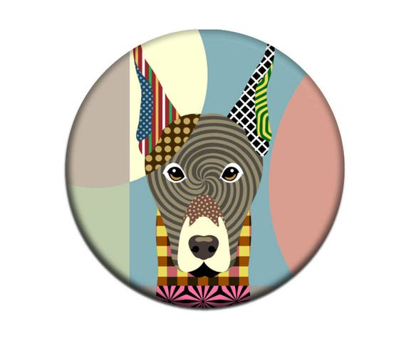 Doberman Magnet, DobermanAccessories,  Doberman Gift, Animal Magnet,  2. 25 inches diameter and 0.25 inches thick
