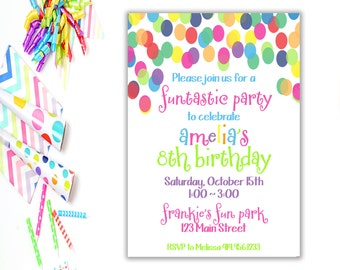 Birthday Party Invitation,  Colorful Birthday Party ,  Fun Birthday Party Invite,  Printable,  Birthday Party Invite,  Polka Dot Birthday