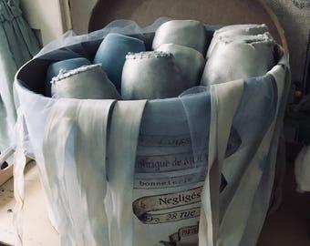 Simply divine light blue  ballettshoes  in a headbox,brocante rare
