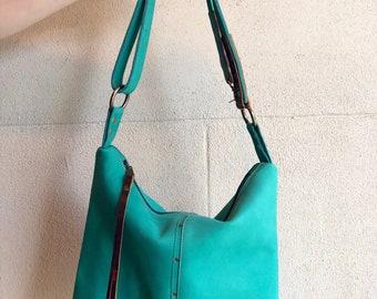 """Katy adjustable handbag   """"lagoon green"""" OOAK"""