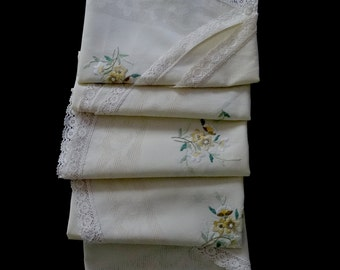 Vintage hand embroidered large round tablecloth - cream tablecloth with yellow, white and green embroidered flowers - 57 inches / 145cm
