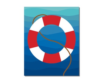 S A L E - Life Preserver - 5x7 Children's Art Print - Nautical Ocean Beach Theme