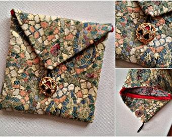 Mosaic square pouche, handmade pouche, square pouche, handmade gift , gift