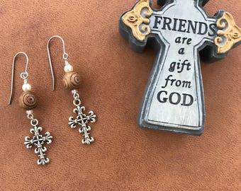 Filigree Cross earrings, titanium hypoallergenic ear wires, Olive wood from the Holy Land, Christian gift, Bethlehem gift,  Religious gift