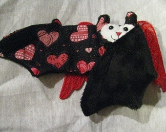Red Lace Winged Black Heart Valentine's Day Bat Cup Sleeve - Pink and White Lines and Hearts NEW