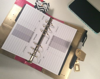 Personal Size Printed Monthly Bill Tracker Planner Inserts