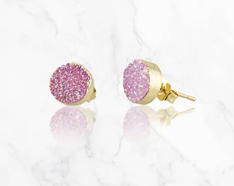 Druzy Earrings, Gemstone Earrings Druzy Stud Earrings, Druzy Post Earrings, 14k Gold Filled Stud Earrings, Druzy Jewelry, Bridesmaid Jewelry